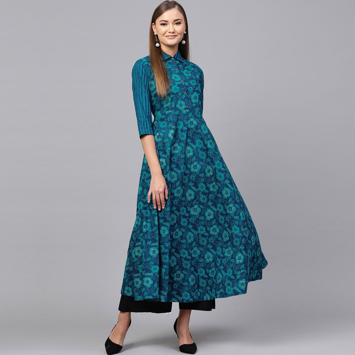 Pleasant Blue Colored Casual Printed Cotton Kurti