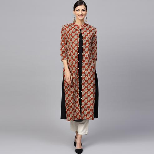 Ravishing Black-Brown Colored Partywear Printed Cotton Jacket Style Kurti