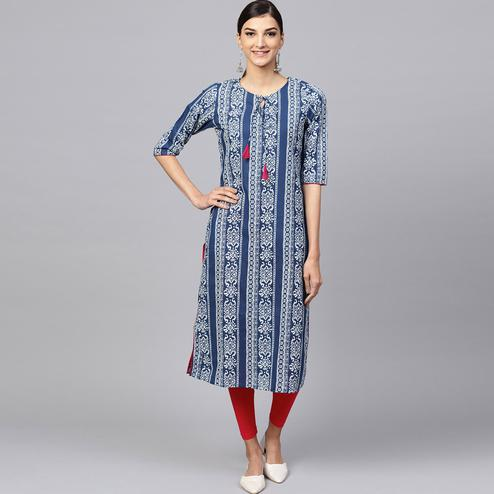 Dazzling Navy Blue-White Colored Casual Printed Cotton Kurti