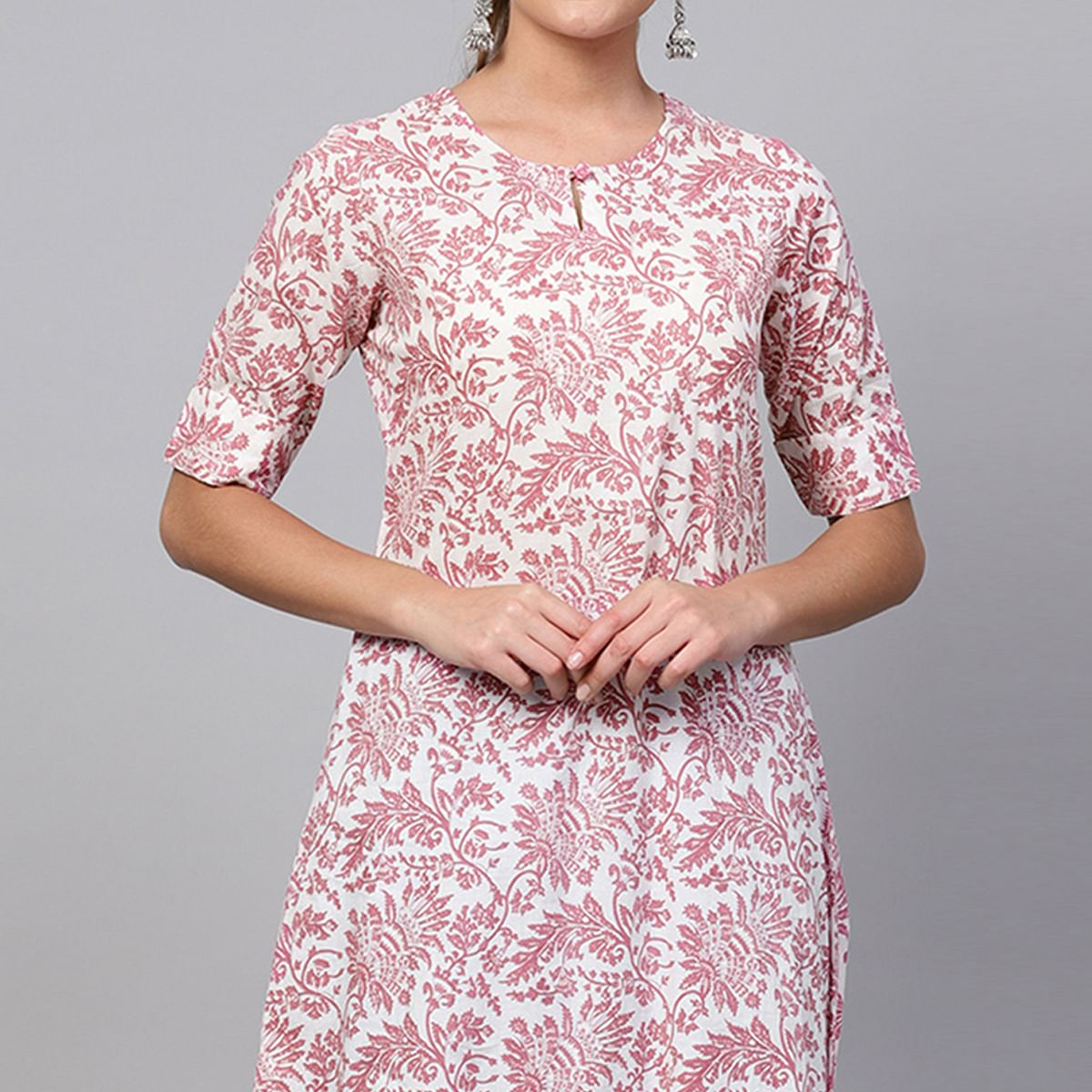 Intricate White-Pink Colored Casual Printed Cotton Kurti