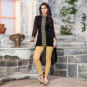 Black Georgette Embroidered Partywear Kurti