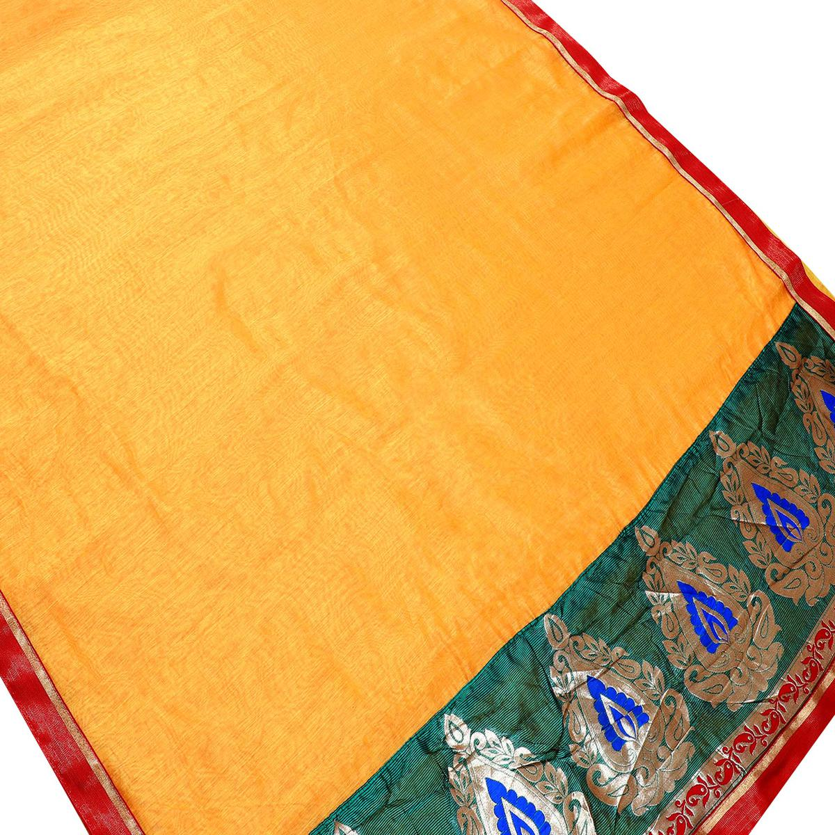 Flattering Yellow Colored Partywear Chanderi Silk Saree