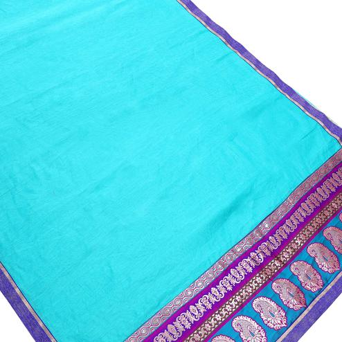 Excellent Sky Blue Colored Partywear Chanderi Silk Saree