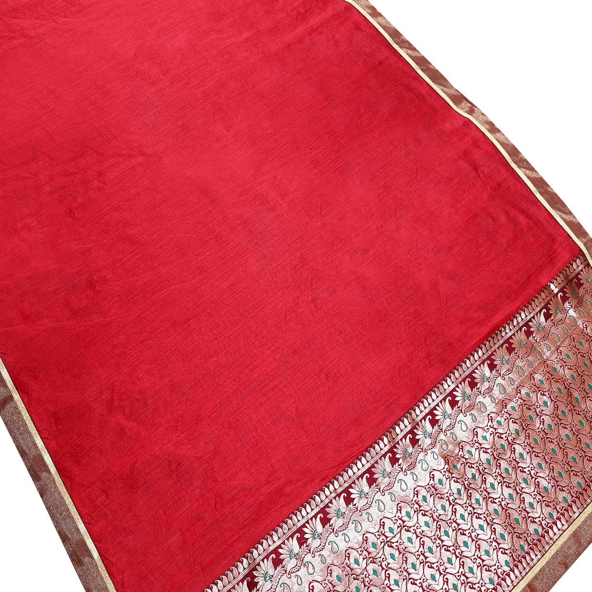 Marvellous Red Colored Partywear Chanderi Silk Saree