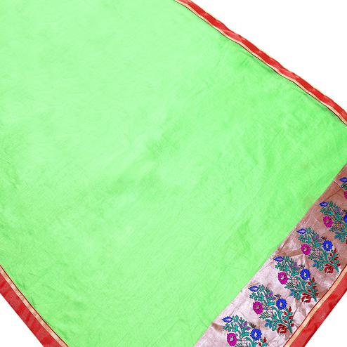 Flamboyant Green Colored Partywear Chanderi Silk Saree