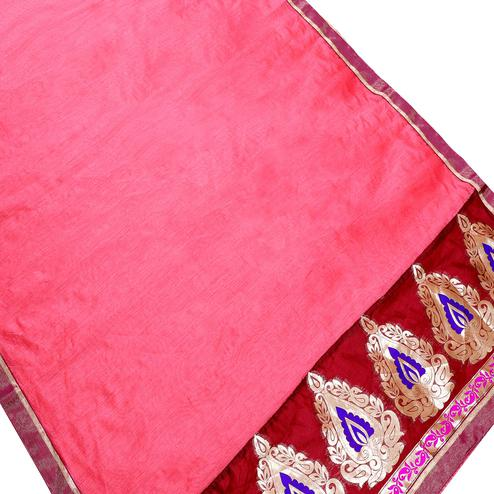 Pretty Pink Colored Partywear Chanderi Silk Saree