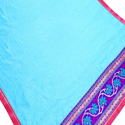 Alluring Sky Blue Colored Partywear Chanderi Silk Saree