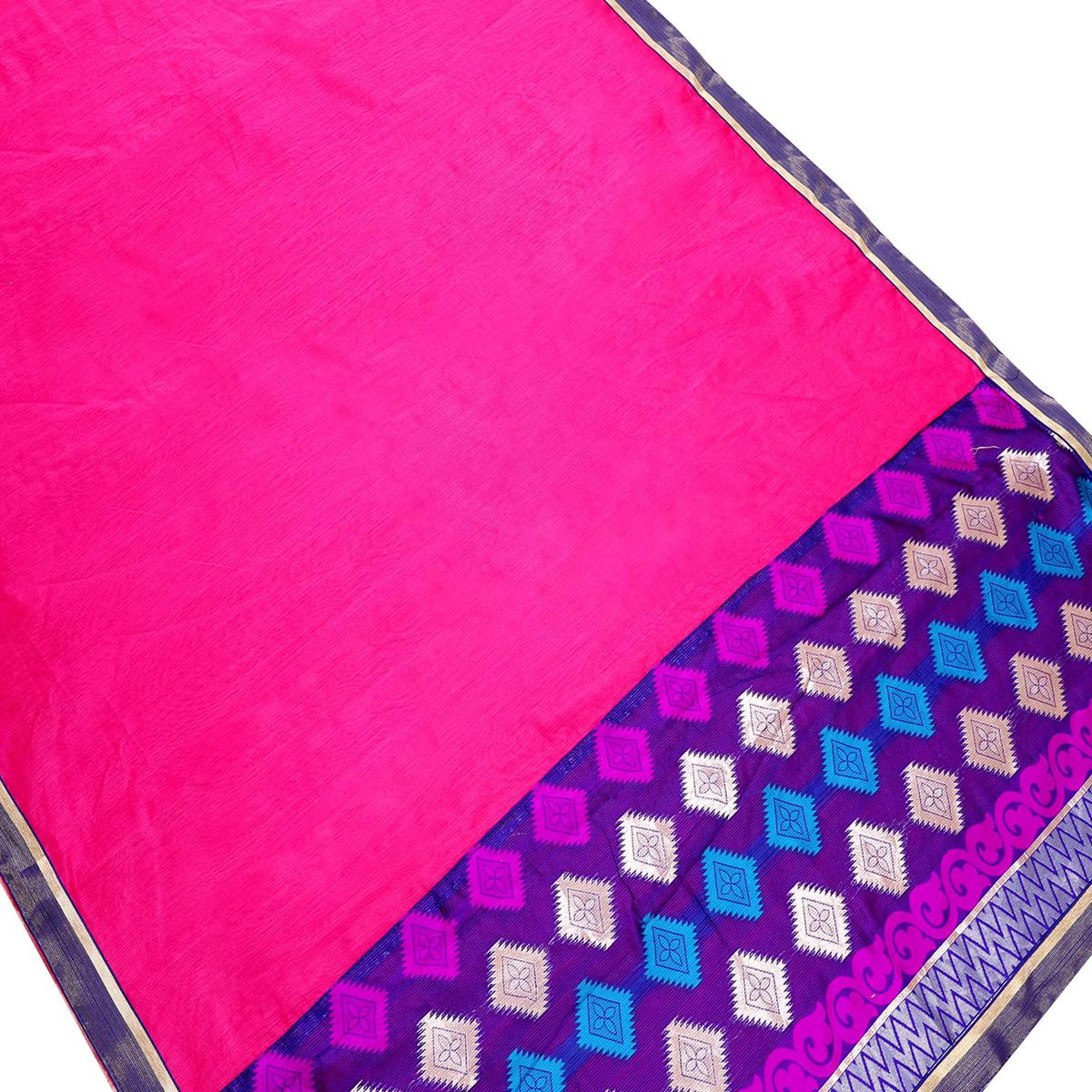 Sensational Dark Pink Colored Partywear Chanderi Silk Saree