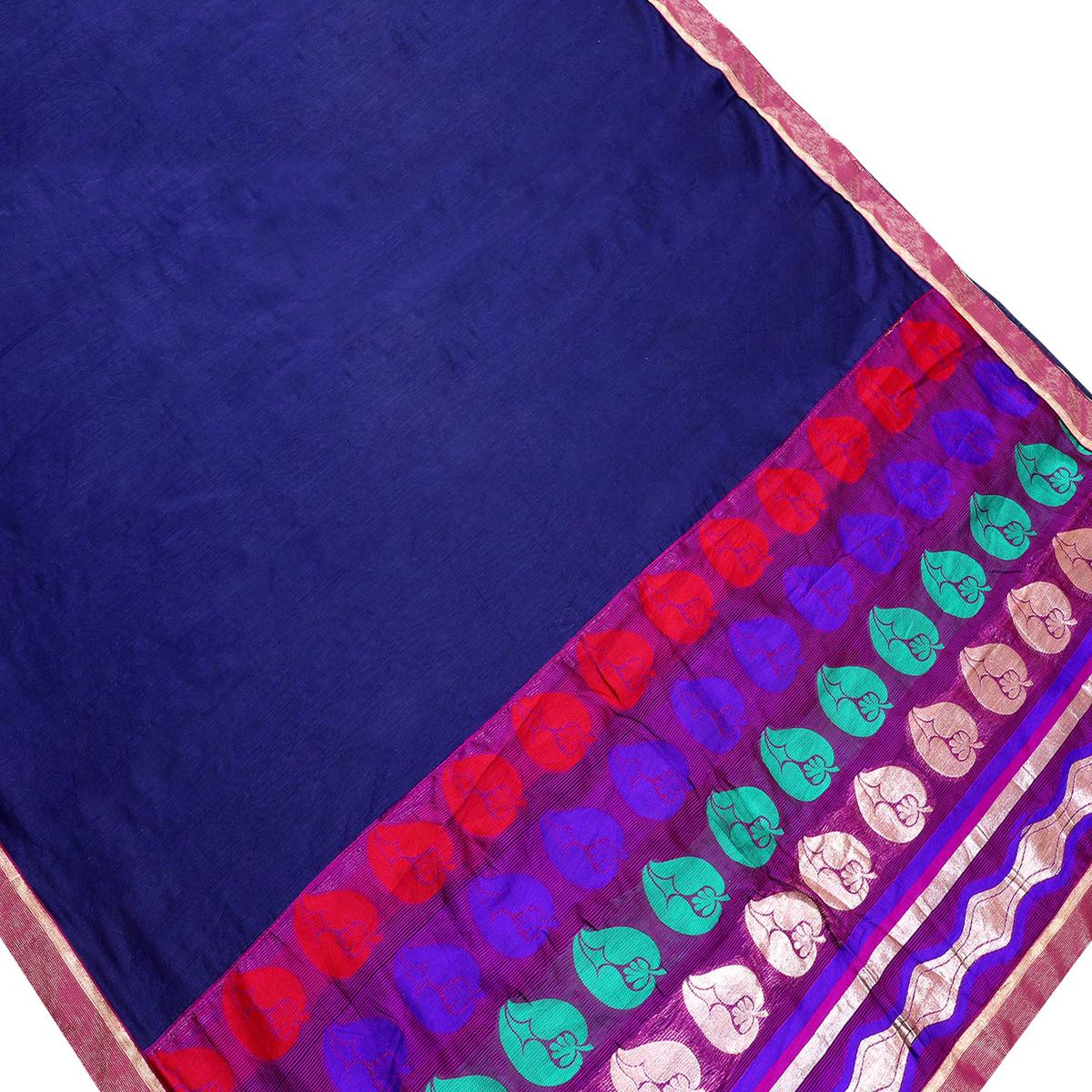 Flaunt Navy Blue Colored Partywear Chanderi Silk Saree