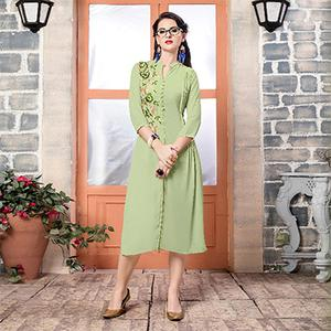 Pista Green Georgette Embroidered Partywear Kurti