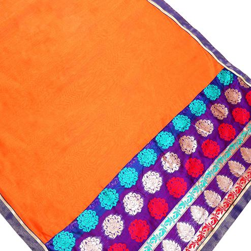 Flirty Orange Colored Partywear Chanderi Silk Saree
