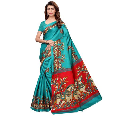 Intricate Turquoise Green Colored Festive Wear Khadi Silk Saree