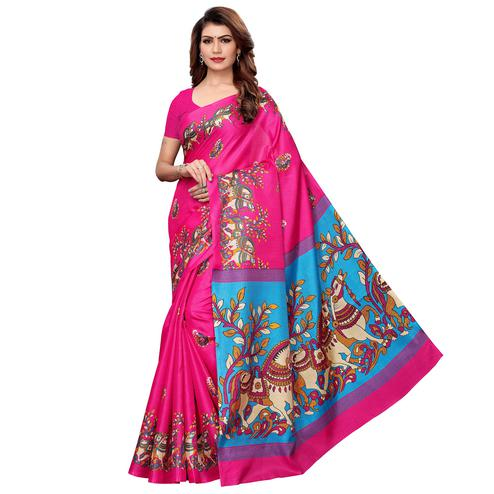 Arresting Pink Colored Festive Wear Khadi Silk Saree