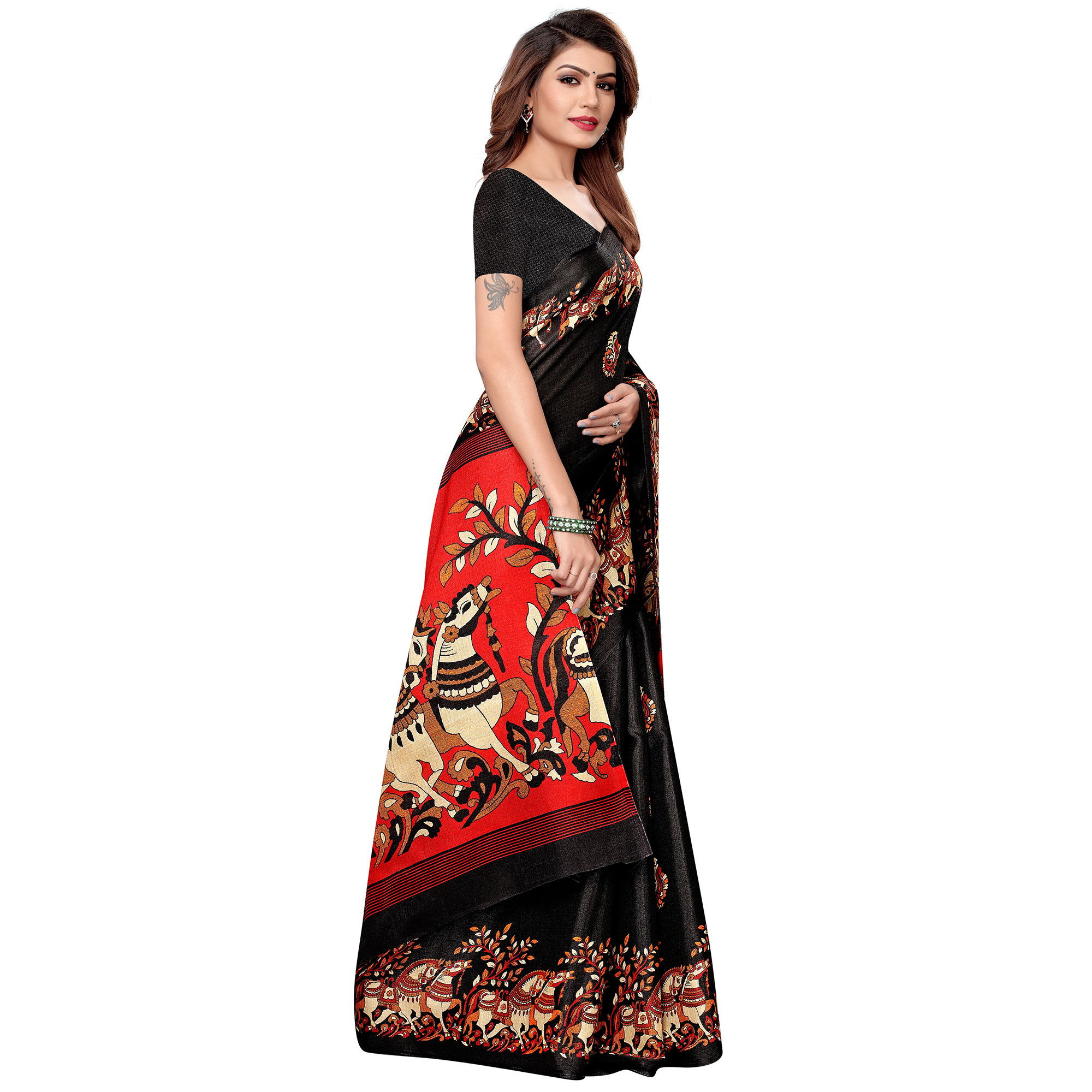 Desirable Black Colored Festive Wear Khadi Silk Saree