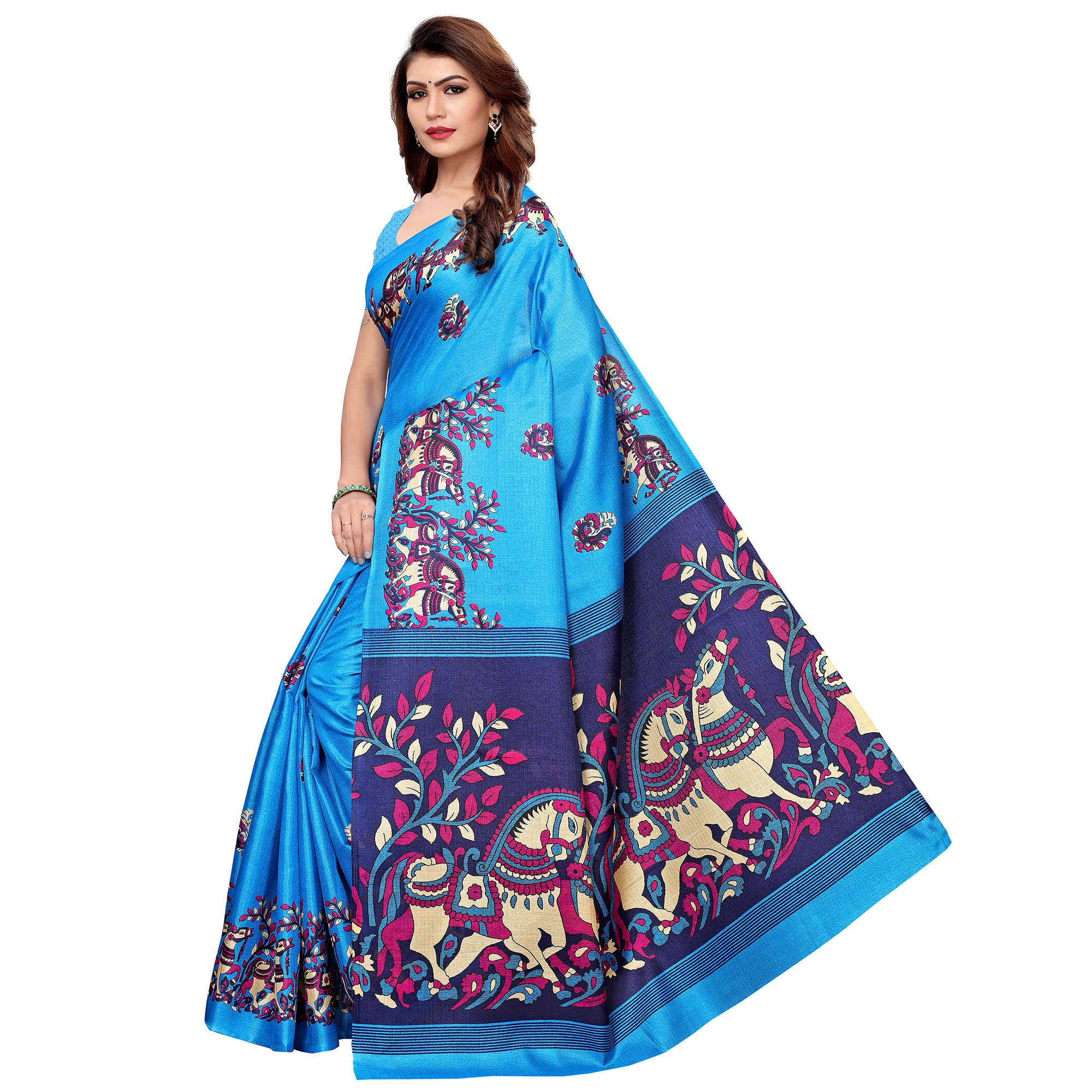 Sophisticated Sky Blue Colored Festive Wear Khadi Silk Saree
