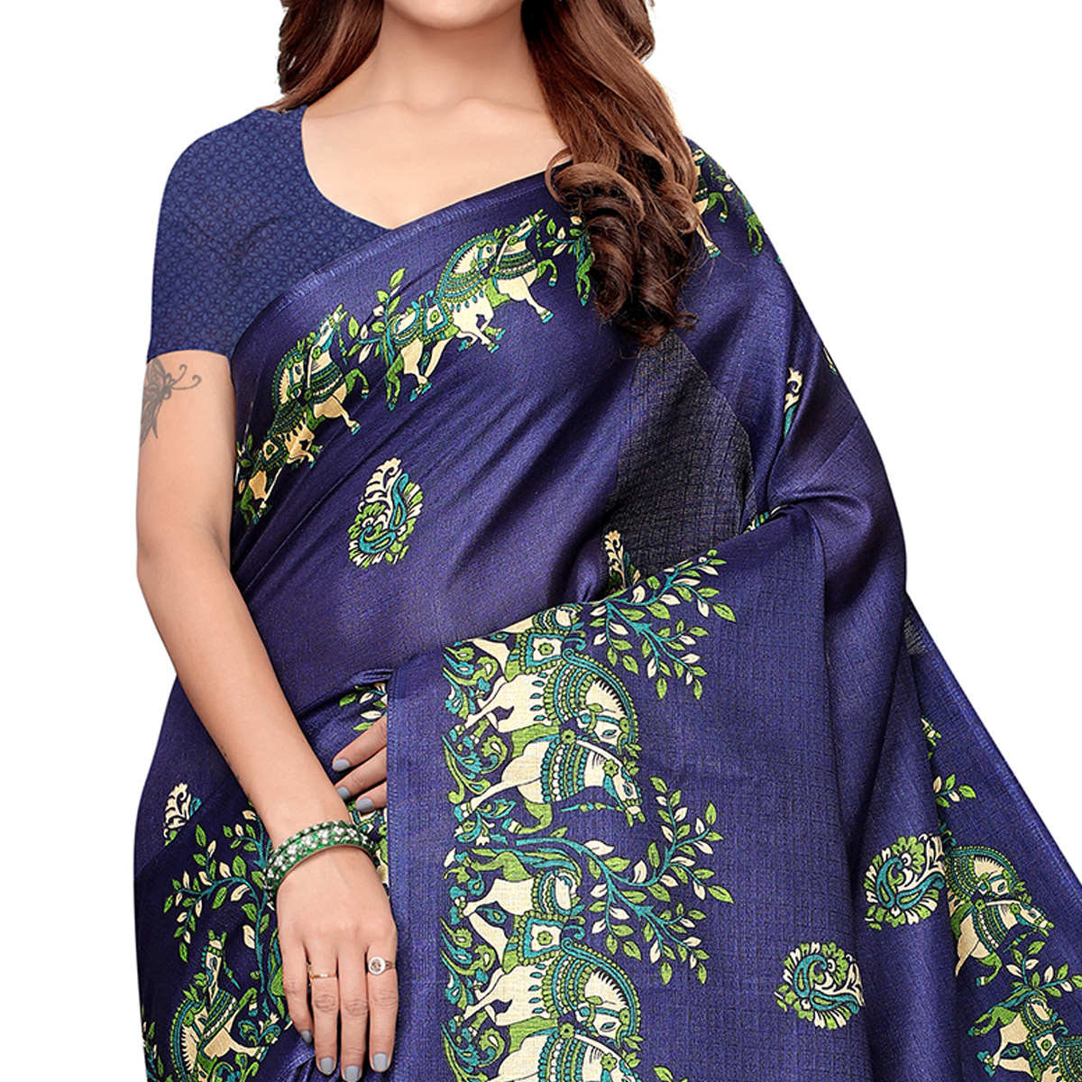 Trendy Navy Blue Colored Festive Wear Khadi Silk Saree