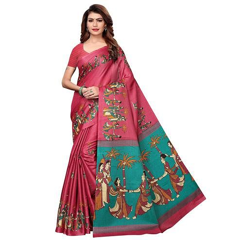 Elegant Pink Colored Festive Wear Khadi Silk Saree