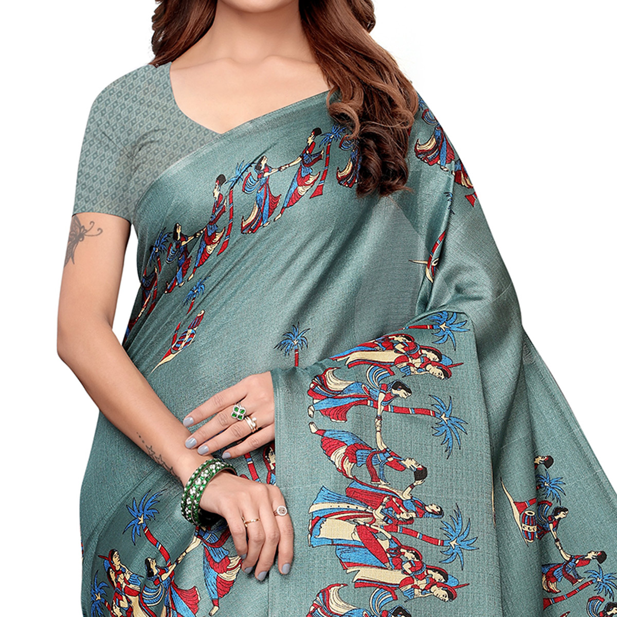 Radiant Gray Colored Festive Wear Khadi Silk Saree