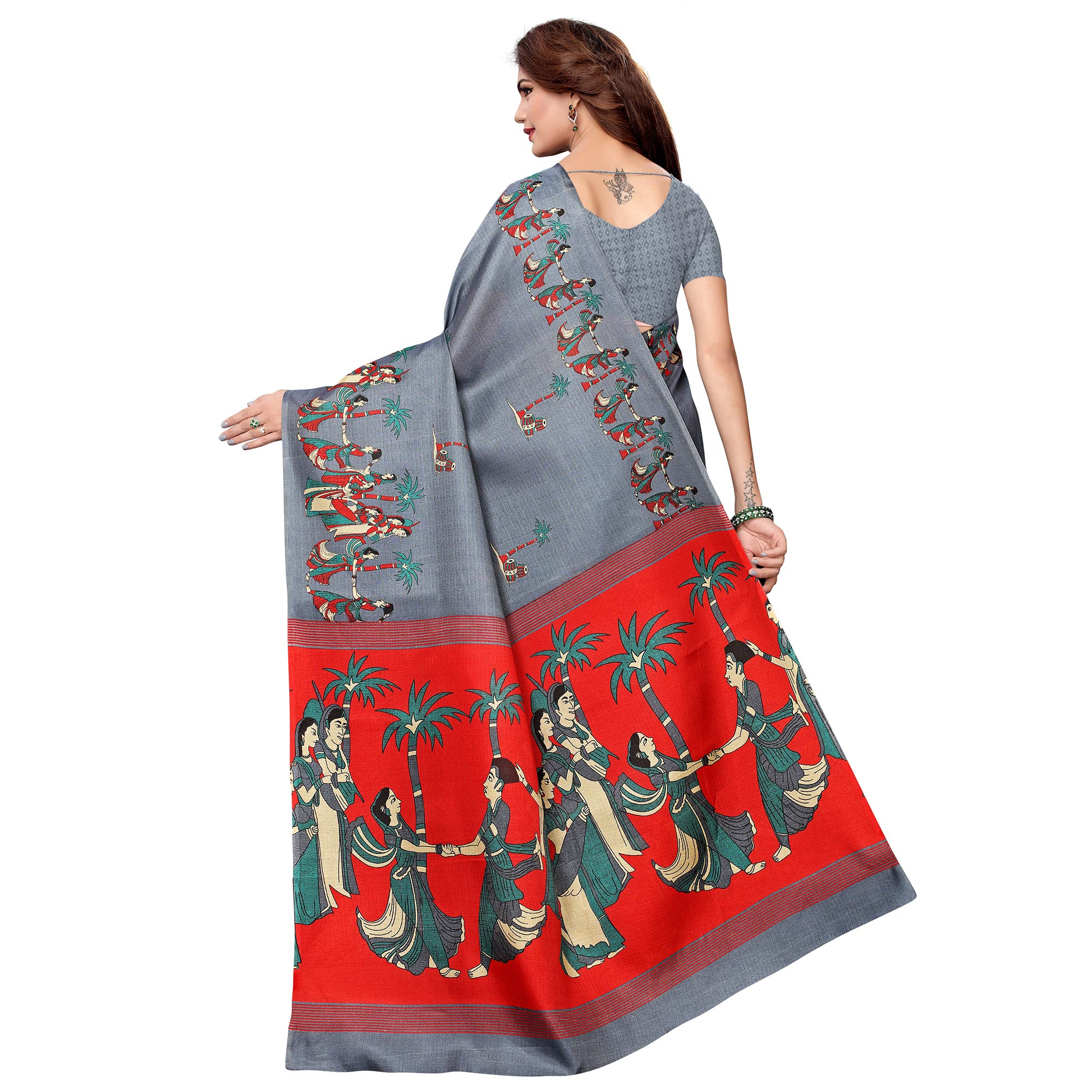Pleasant Slate Gray Colored Festive Wear Khadi Silk Saree