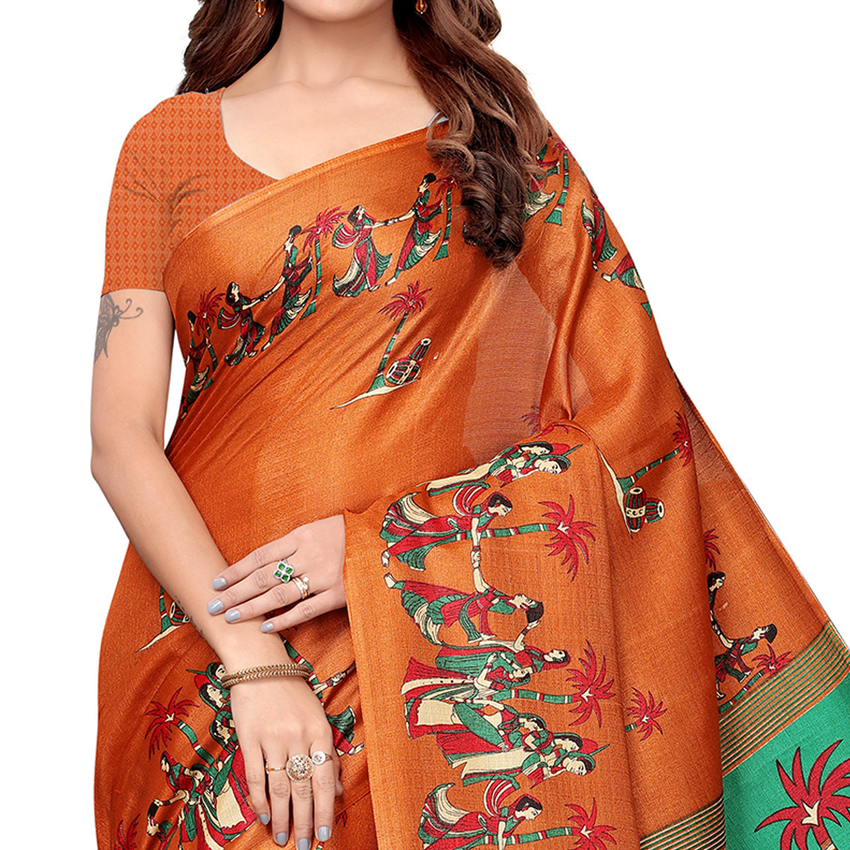 Opulent Rust Orange Colored Festive Wear Khadi Silk Saree