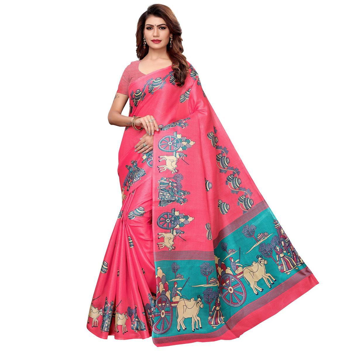 Energetic Pink Colored Festive Wear Khadi Silk Saree