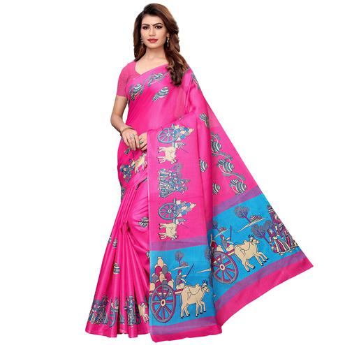 Glowing Rani Pink Colored Festive Wear Khadi Silk Saree