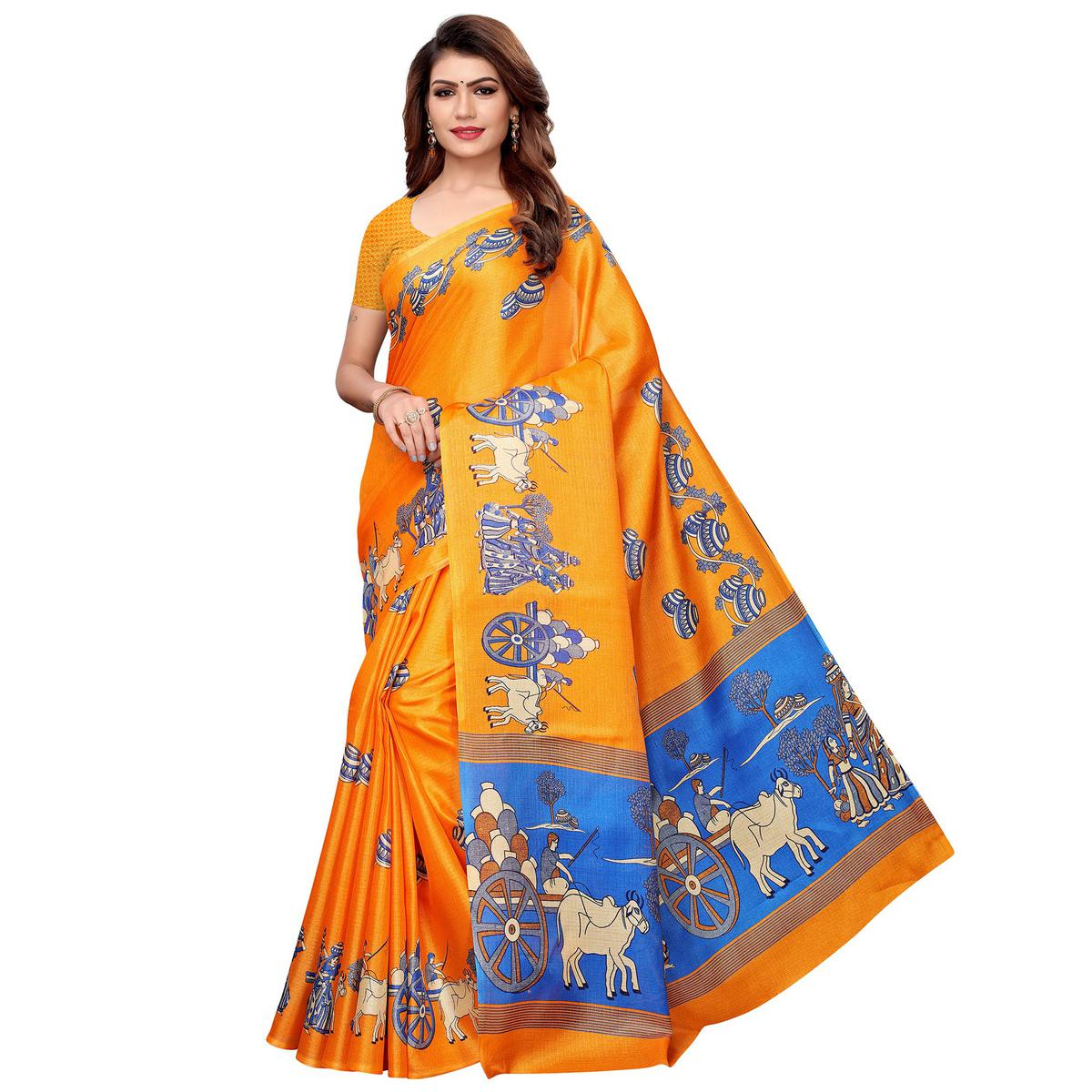 Exceptional Orange Colored Festive Wear Khadi Silk Saree