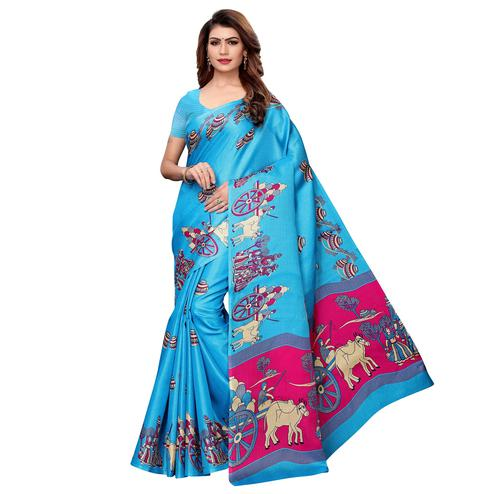 Gleaming Sky Blue Colored Festive Wear Khadi Silk Saree
