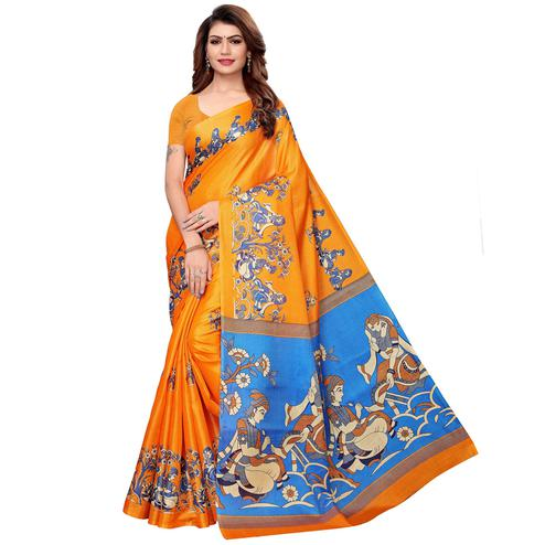 Mesmeric Orange Colored Festive Wear Khadi Silk Saree