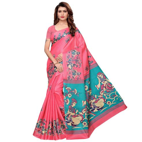 Unique Pink Colored Festive Wear Khadi Silk Saree