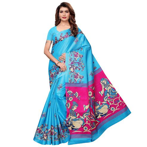 Demanding Sky Blue Colored Festive Wear Khadi Silk Saree
