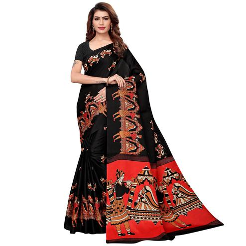 Magnetic Black Colored Festive Wear Khadi Silk Saree