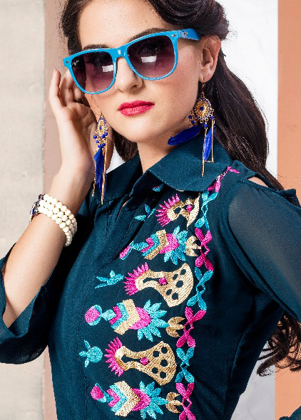 Stone Blue Georgette Embroidered Partywear Kurti