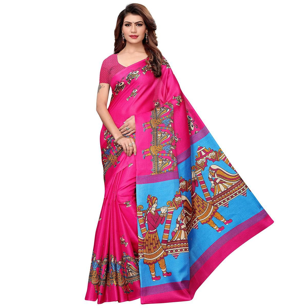 Hypnotic Pink Colored Festive Wear Khadi Silk Saree
