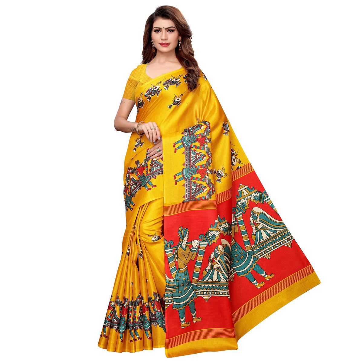 Flattering Yellow Colored Festive Wear Khadi Silk Saree