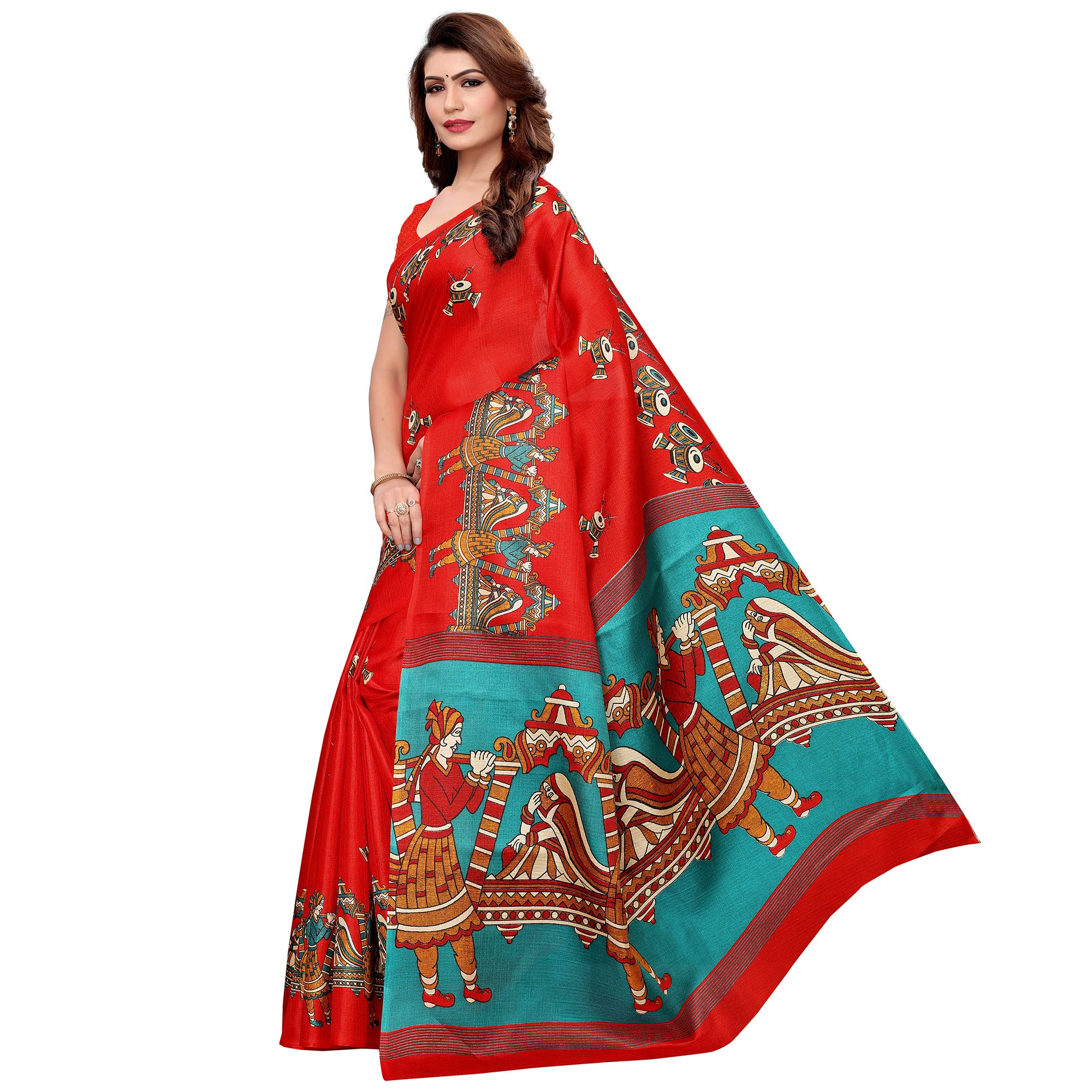 Excellent Red Colored Festive Wear Khadi Silk Saree
