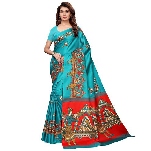 Preferable Aqua Blue Colored Festive Wear Khadi Silk Saree