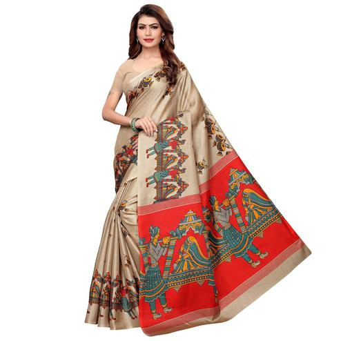 Marvellous Beige Colored Festive Wear Khadi Silk Saree