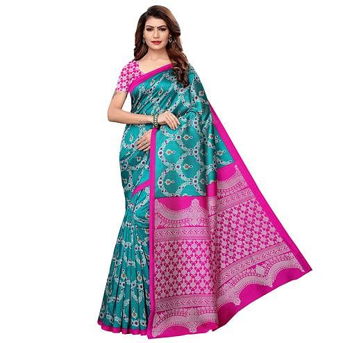 Adorable Rama Green Colored Casual Printed Art Silk Saree