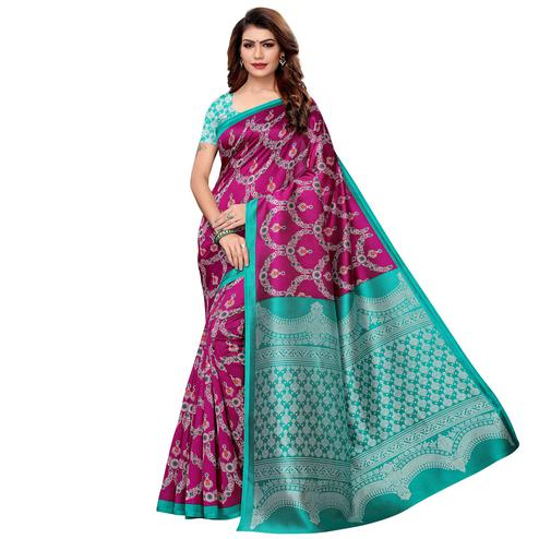 Glorious Magenta Pink Colored Casual Printed Art Silk Saree