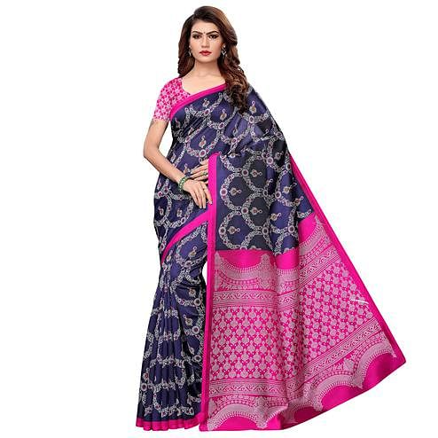 Attractive Navy Blue Colored Casual Printed Art Silk Saree
