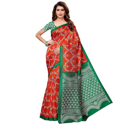 Beautiful Rust Orange Colored Casual Printed Art Silk Saree
