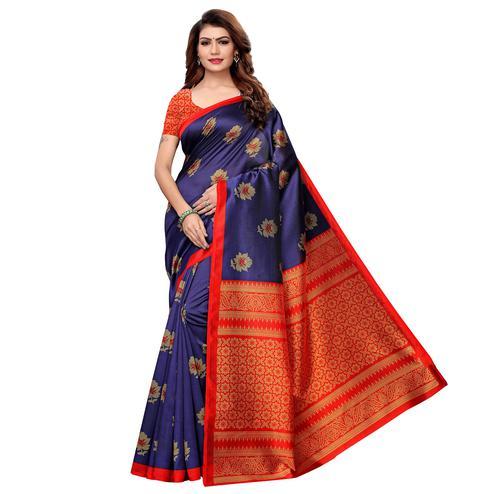Graceful Navy Blue Colored Casual Printed Art Silk Saree