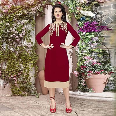 Maroon Georgette Embroidered Partywear Kurti