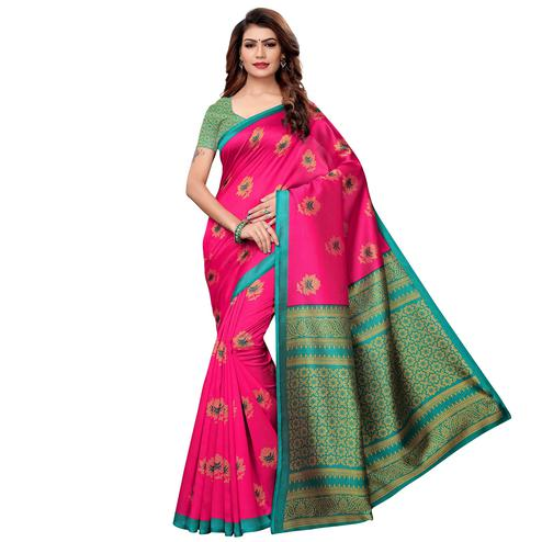 Blooming Pink Colored Casual Printed Art Silk Saree
