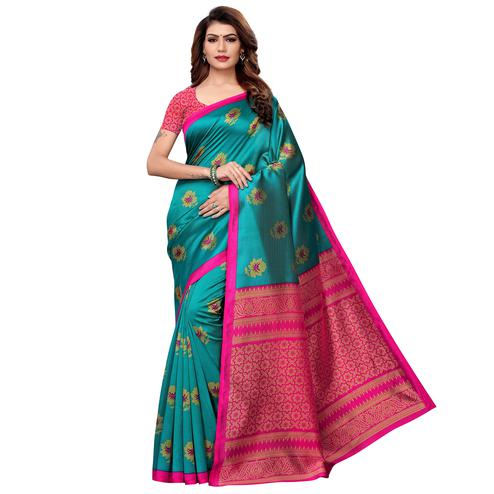 Charming Turquoise Green Colored Casual Printed Art Silk Saree