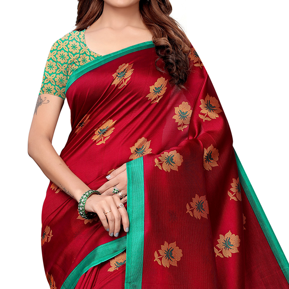 Jazzy Maroon Colored Casual Printed Art Silk Saree