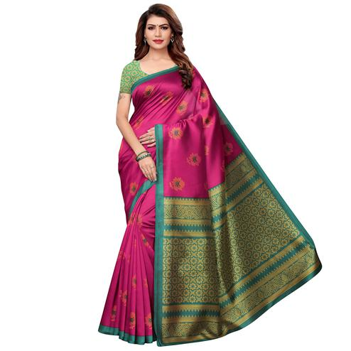 Delightful Pink Colored Casual Printed Art Silk Saree