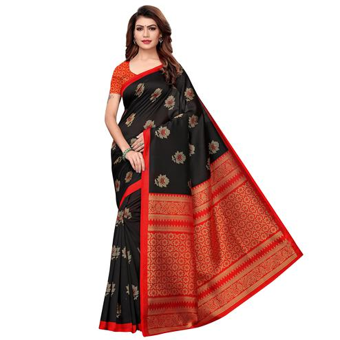 Engrossing Black Colored Casual Printed Art Silk Saree