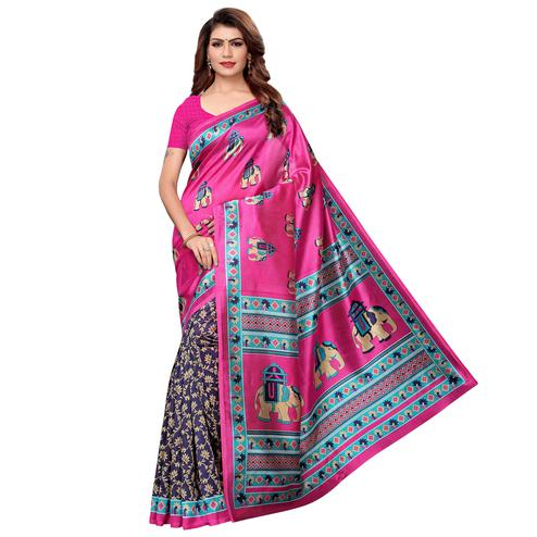Captivating Pink-Navy Blue Colored Casual Printed Art Silk Saree